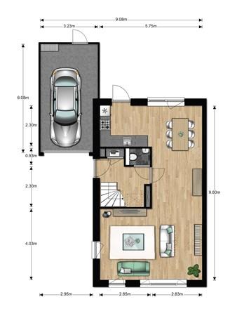 Floorplan - Bouwnummer 616, 6852 AA Huissen