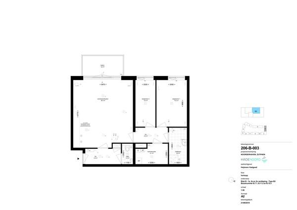 Floorplan - kade noord Bouwnummer B 15.3, 7202 AN Zutphen