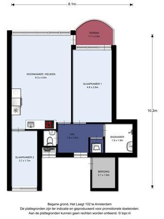 Floorplan - Het Laagt 102, 1025 GK Amsterdam