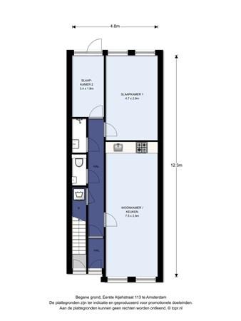 Floorplan - Eerste Atjehstraat 113H, 1094 KG Amsterdam