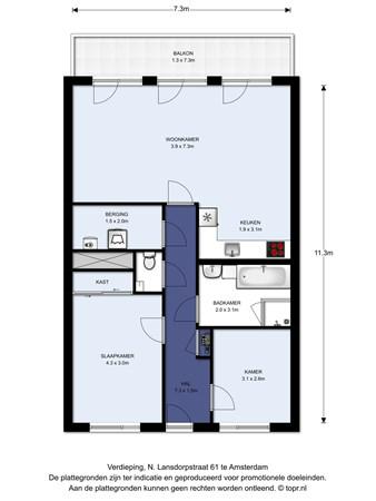 Floorplan - N. Lansdorpstraat 61, 1022 KB Amsterdam