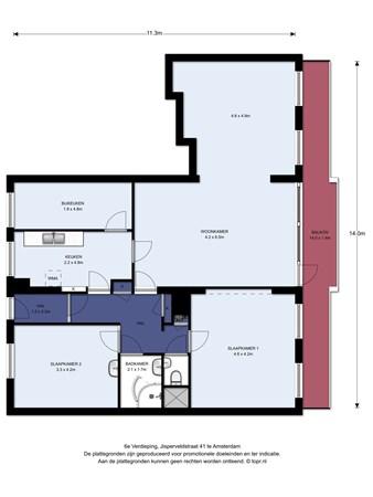 Floorplan - Jisperveldstraat 41, 1024 AA Amsterdam