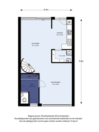 Floorplan - Hilverbeekstraat 38, 1024 KL Amsterdam