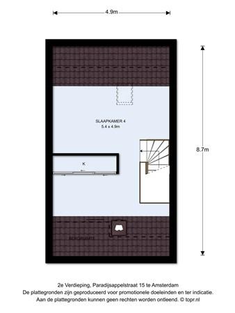 Floorplan - Paradijsappelstraat 15, 1036 LL Amsterdam