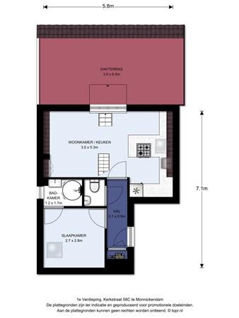 Floorplan - Kerkstraat 58C, 1141 BJ Monnickendam