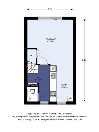 Floorplan - J.P. Kloosstraat 14, 1022 KD Amsterdam
