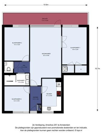 Floorplan - Amerbos 251, 1025 ZD Amsterdam