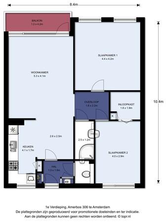 Floorplan - Amerbos 306, 1025 ZV Amsterdam