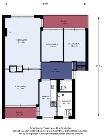 Floorplan - Tussen Meer 26I, 1068 GB Amsterdam