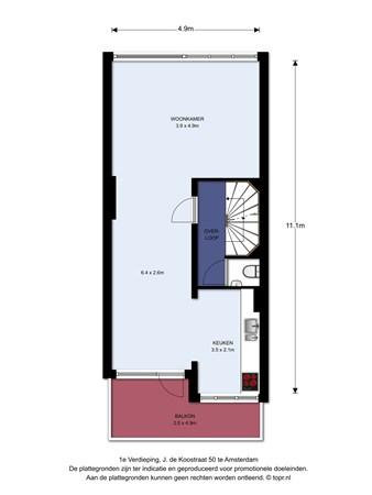 Floorplan - J. de Koostraat 50, 1068 KS Amsterdam