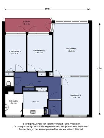 Floorplan - Cornelis van Vollenhovenstraat 150, 1063 KV Amsterdam