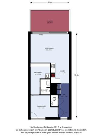 Floorplan - De Klencke 101C, 1083 HH Amsterdam