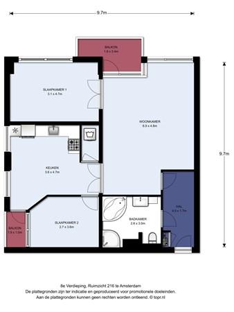 Floorplan - Ruimzicht 216, 1068 CV Amsterdam