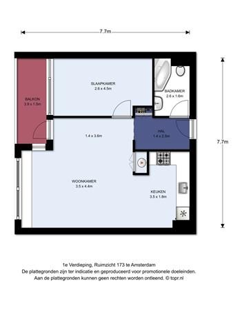 Floorplan - Ruimzicht 173, 1068 CT Amsterdam