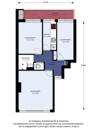 Floorplan - Granidastraat 60II, 1055 HN Amsterdam