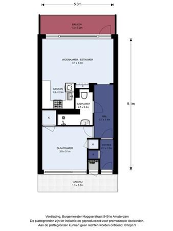 Floorplan - Burgemeester Hogguerstraat 549, 1064 CV Amsterdam
