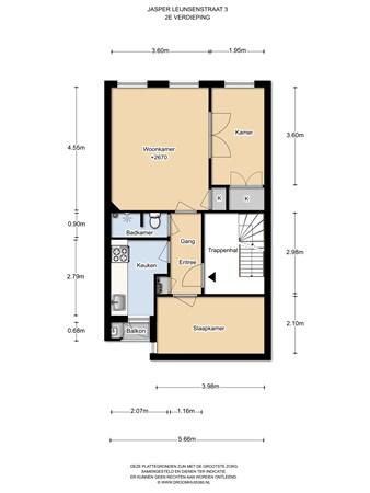 Floorplan - Jasper Leijnsenstraat 3II, 1056 XT Amsterdam