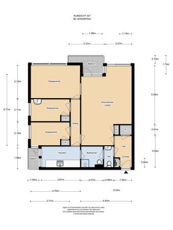 Floorplan - Ruimzicht 307, 1068 DA Amsterdam