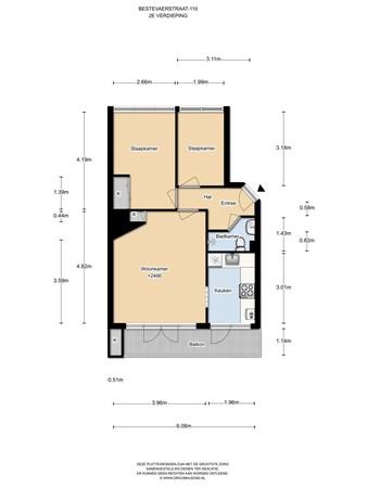 Floorplan - Bestevâerstraat 110II, 1056 HS Amsterdam