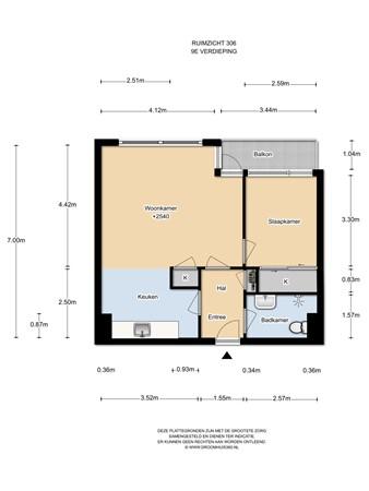 Floorplan - Ruimzicht 306, 1068 DA Amsterdam