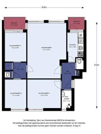 Floorplan - Sam van Houtenstraat 269B, 1067 JK Amsterdam