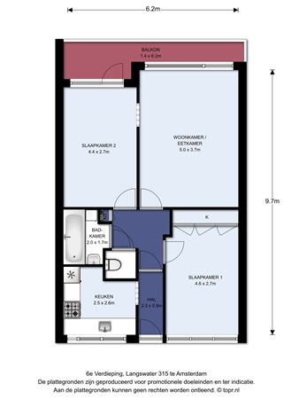 Floorplan - Langswater 315, 1069 EC Amsterdam