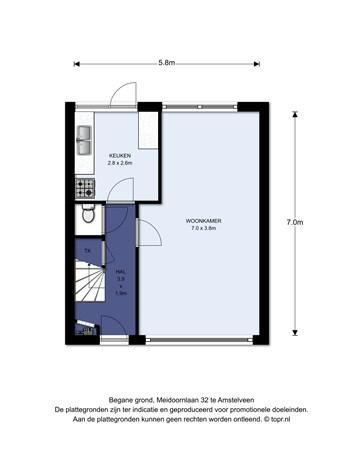 Floorplan - Meidoornlaan 32, 1185 JX Amstelveen