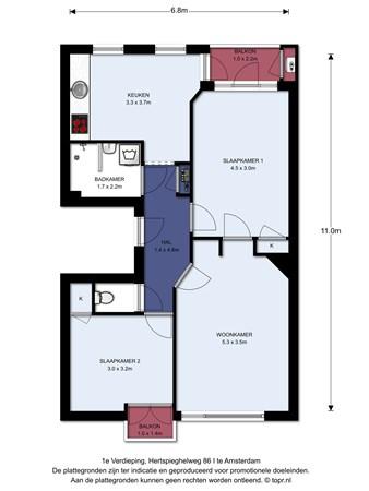 Floorplan - Hertspieghelweg 86I, 1055 KT Amsterdam