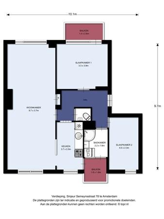 Floorplan - Sinjeur Semeynsstraat 78-2, 1061 GM Amsterdam