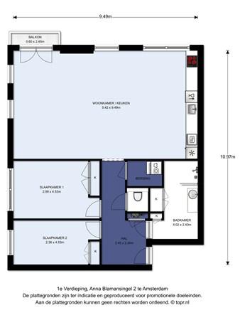 Floorplan - Anna Blamansingel 2, 1102 SR Amsterdam Zuid-Oost