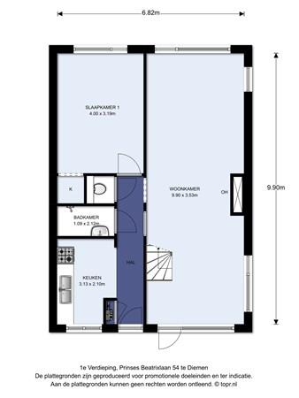 Floorplan - Prinses Beatrixlaan 54, 1111 GE Diemen
