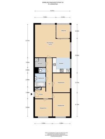 Floorplan - Emmeline Pankhurststraat 26, 1103 MN Amsterdam