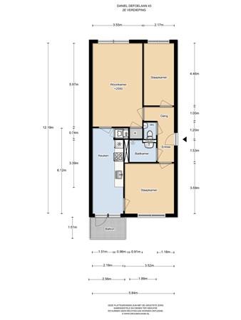 Floorplan - Daniël Defoelaan 43, 1102 ZD Amsterdam
