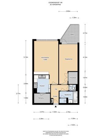 Floorplan - Leksmondhof 198, 1108 EW Amsterdam