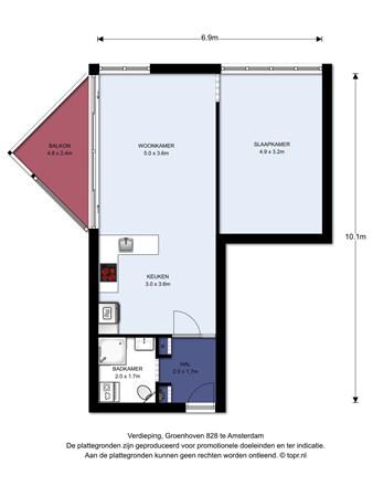 Floorplan - Groenhoven 828, 1103 NA Amsterdam