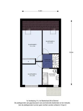 Floorplan - P.J. Ter Beekstraat 28, 1112 JX Diemen
