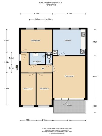 Floorplan - Schaarsbergenstraat 81, 1107 JT Amsterdam