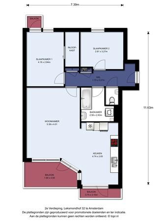 Floorplan - Leksmondhof 32, 1108 EN Amsterdam