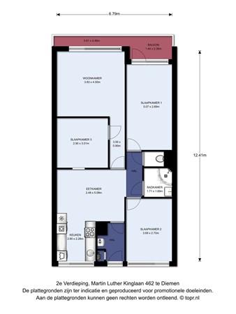 Floorplan - Martin Luther Kinglaan 462, 1111 LT Diemen
