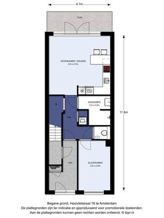 Floorplan - Hooivletstraat 76BG, 1086 VH Amsterdam