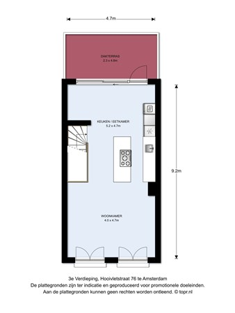 Floorplan - Hooivletstraat 76I, 1086 VH Amsterdam