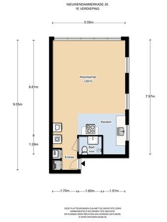 Floorplan - Nieuwendammerkade 26A2, 1022 AB Amsterdam