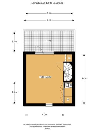 Floorplan - Esmarkelaan 409, 7534 JZ Enschede
