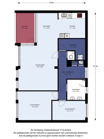 Floorplan - Nederlandstraat 17, 1363 DB Almere