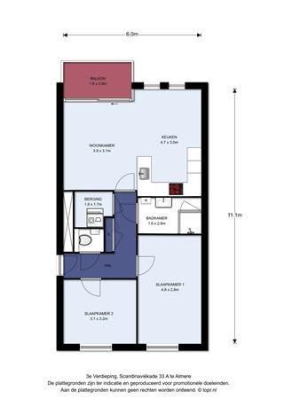 Floorplan - Scandinaviëkade 33A, 1363 DJ Almere