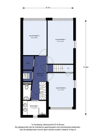 Floorplan - Abrikozenhof 27, 1326 HB Almere