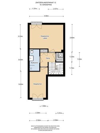 Floorplan - Zwitserlandstraat 12, 1363 BE Almere