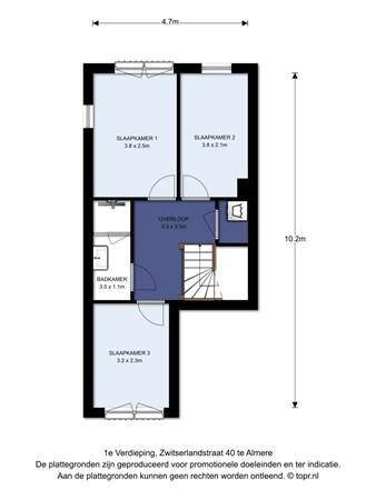 Floorplan - Zwitserlandstraat 40, 1363 BE Almere