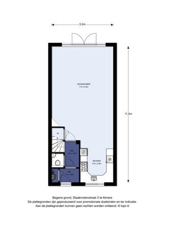 Floorplan - Staakmolenstraat 3, 1333 EP Almere