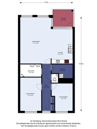Floorplan - Denemarkenstraat 36, 1363 DD Almere